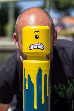 LEGO Spray Paint on Parking Bollard - JOQUZ #face #lego #art #street