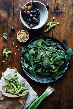 Warm Sautéed Grapes, Autumn Kale Edamame Salad w/Shiso Vinaigrette #photography #vegetables