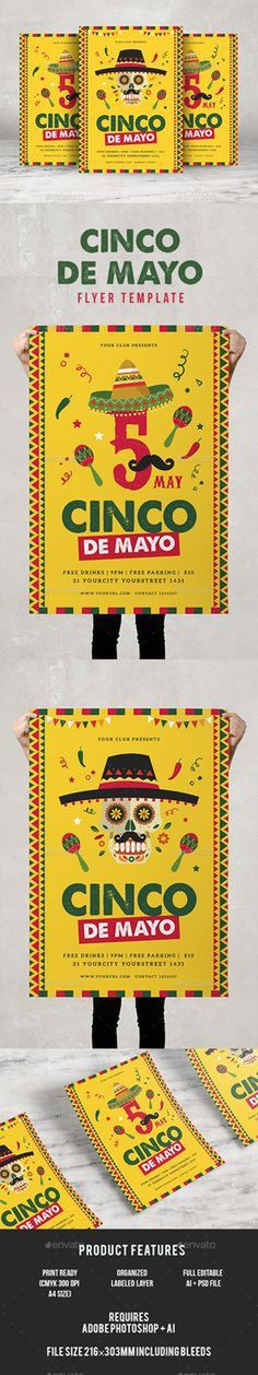 Cinco De Mayo Flyer by infinite78910 Featured2 Ai Psd File A4 Size (210脳297) Bleed CMYK 300 DPI Print Ready Well Organized Layer Full E