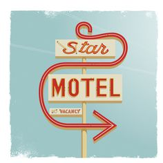 Star Motel Art Print #sign #motel #vintage