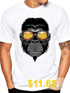 Cute #Comfortable #Chimpanzee #Printed #T-shirt #- #WHITE