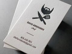 David A: Letterpress Business Card by Nicholas DeVore #business #card #letterpress #identity #chef #logo
