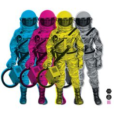 CMYKStronauts Art Print #astronaut #yellow #color #space #black #purple #cmyk #blue #toy