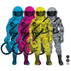 CMYKStronauts Art Print #astronaut #yellow #color #space #black #purple #cmyk #blue #toy