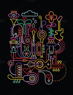 Abstract art #music #neon #line work #graphic #design #party #concert #musical #orchestra