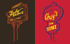 Shady Grove and Chuy's #lettering #sign #illustration #vintage #signage #typography