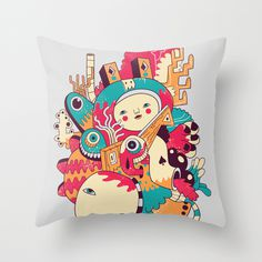 Holloolloo Throw Pillow #honduras #pillow #illustration