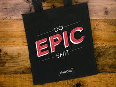 epic, tote, bag, swag, wood, table, black, red, vintage