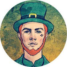 Hip Leprechaun #handsome #fantasy #fairy #boy #beard #hipster #redhead #holiday #man #irish #leprechaun #character #greenhat