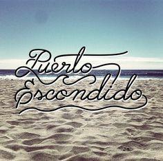 Puerto Escondido #logo #blue #lettering #beach #script #wave #surf #puertoescondido