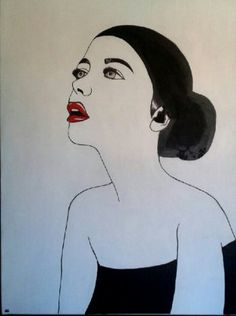 A birthday gift. Mixed media on canvas. #woman #potrait #black #white #red #minimal #minimalism