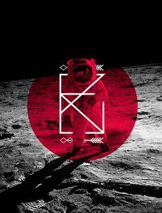 GeomasByJosip Kelava #design #type #poster #graphic #space #astronaut #lines #arrows
