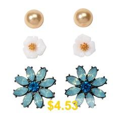 Fashion #Blue #Flash #Diamond #Resin #Flower #Stud #Earrings #Set #- #MACAW #BLUE #GREEN