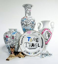 "Carolin Loebbert ""Time Travel"" / 母親が集めていた陶器に一点ずつ絵を描き加えた陶器シリーズ | HITSPAPER™ : A #calm #punk #pottery"