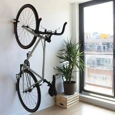 LIFTHOOK Lift is a minimal and versatile wall hook that hangs heavy items like your bicycle or ladder, as well as everyday objects like your coat, hat, or bag. Comes with tread guard for your rear tires.