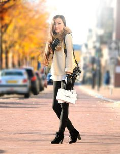 Topshop Knitted Sweater, Mango Ankle Boots, Unknown Fur Scarf, H #photography #woman #cute #fashioin