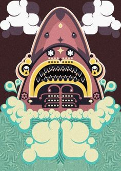 Jonny Wan Illustration #water #print #graphic #jaws #illustration #poster #wan #jonny #patterns