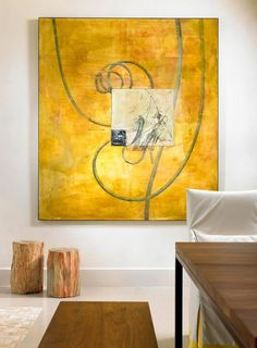Abstract painting in elegant living area #interior #house #artistic #decor #art #paintings #residence