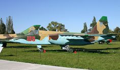 A Ukrainian Su-25 painted with earth colours above and sky blue below #camo #jet #plane #dual #ukraine