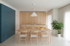 Forte Apartment #kitchen #dining #birch #wood #tile