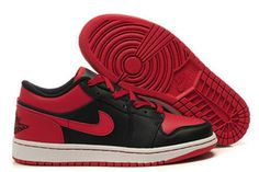 Shop Buy Mens Basketball Shoes Air Jordan 1 Low Black & Varsity Red #shoes