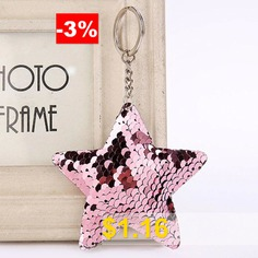 Cute #Chaveiro #Star #Glitter #Pompom #Sequins #Key #Ring #- #PINK