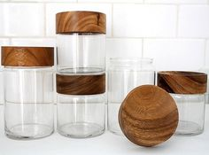 Merchant no. 4 - Wood Glass Canisters - Gift #glass #wood #spots #design