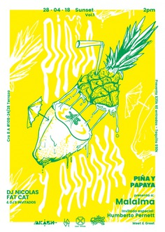 Pineapple and Papaya Poster
