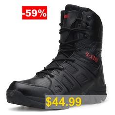 AILADUN #Men's #Outdoor #High-top #Combat #Boots #Sports #Shoes #Solid #Color #- #BLACK