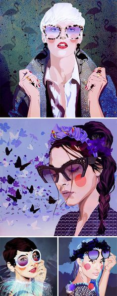 Sunglass Hut chose Mamzelle Poppy for their last Pinterest campaign Sketches of Style, in collaboration with RXM Creative agency. These illu