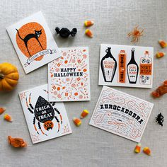 Illustrated Halloween Cards and Treat Bags by Maple and Belmont via Oh So Beautiful Paper (7) #illustration #typography #halloween