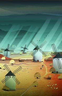 """Glorious Days"" #society6 #DonQuijote #LaMancha #SanchoPanza #illustration #landscape #Spain #culture #story #windmill #birds #sheep #prairi"