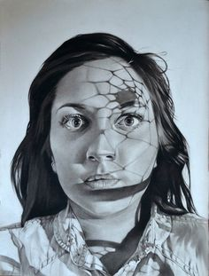 Charcoal portrait with shadows