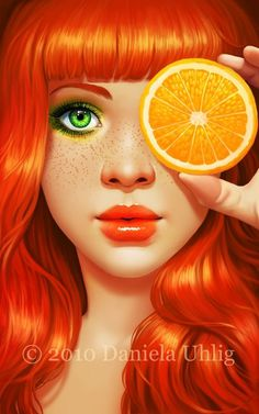 Red Orange by `DanielaUhlig on deviantART #face #illustration #orange #girl