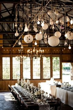 barn wedding #lights #wedding #hanging