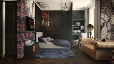 eclectic 32 Sqm studio apartment in London #interior #london #design #studio #apartment