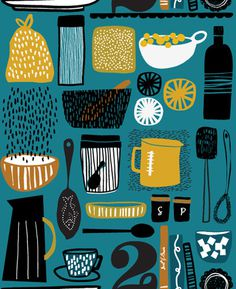 Kitchen! #illustration #kitchen #pattern #food
