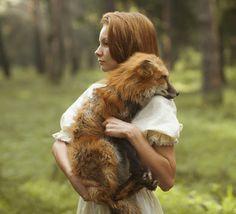 WOMAN WITH WILD ANIMAL BY KAATERINA PLOTNIKOVA - follow dailyinspiration #wild #red #fox #nature #photography #animal