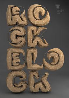 Rock block – Typography made of boulders.