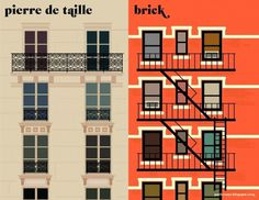 14facades.jpg 1600×1236 pixels #paris #illustration #newyork