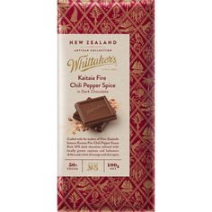 #whittakers #chili #chocolate #packaging #wrapper #emboss #pattern #food #serif #gold #typography