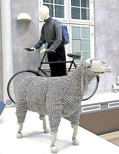 CJWHO ™ (Sheep sculptures made from rotary telephones |...) #creative #amazing #sculpture #design #sheeps #art #telephone #clever