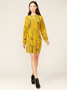Gemma Crus Silk Keyhole Shift #yellow #dress #silk