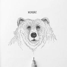 Monday Johann Lucchini @yopich #monday #bear #illustration #ink #blackandwhite