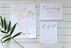 invitations with gold foil #invitation #torn #blush #gold #watercolor #paper #foil