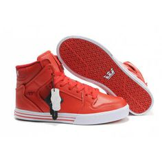 Red White Patent Supra Vaider High Tops Men #shoes