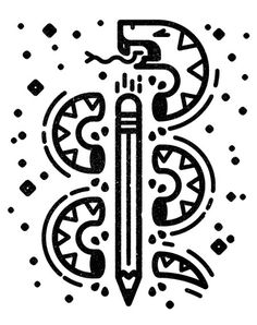 Snake + Pencil #black #pencil #texture #snake