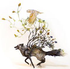 coyote, wolf, owl, foliage, art, fine art, sculpture, Ellen Jewett, Jewett, animal