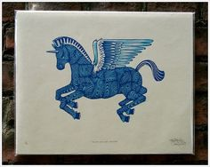 Tugboat Printshop: #woodcut #unicorn #pegasus #tugboat #trojan
