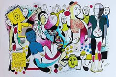 DALOPO paints a great number of body parts mixed in with other geometrical shapes and organic forms